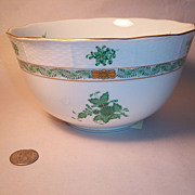 Herend Chinese Bouquet-Green Round Serving Bowl