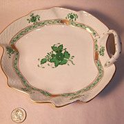 Herend Chinese Bouquet-Green Leaf Shaped Dish