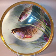 T & V Limoges Superb Hand Painted Fish Platter, Signed Duval