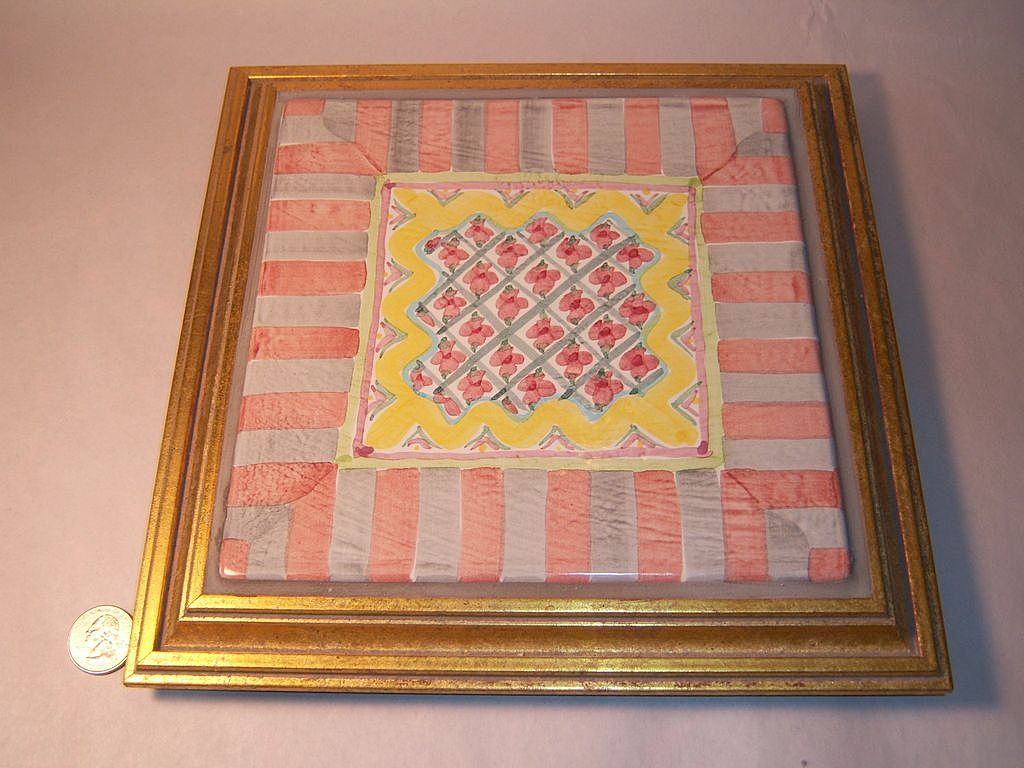 MacKenzie-Childs Rose Cottage Framed Trivet Plaque