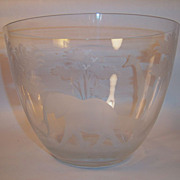 Rare Large Queen Lace Kenyan Wildlife Series Crystal Bowl