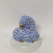 Herend Miniature Pair of Blue Snuggling  Rabbits