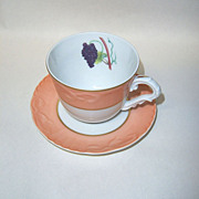 Mottahedeh Summer Fruit Cup & Saucer Grapes