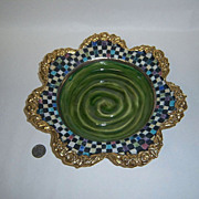 Rare MacKenzie-Childs Evervolving Gold &Green Swirl Rim Soup