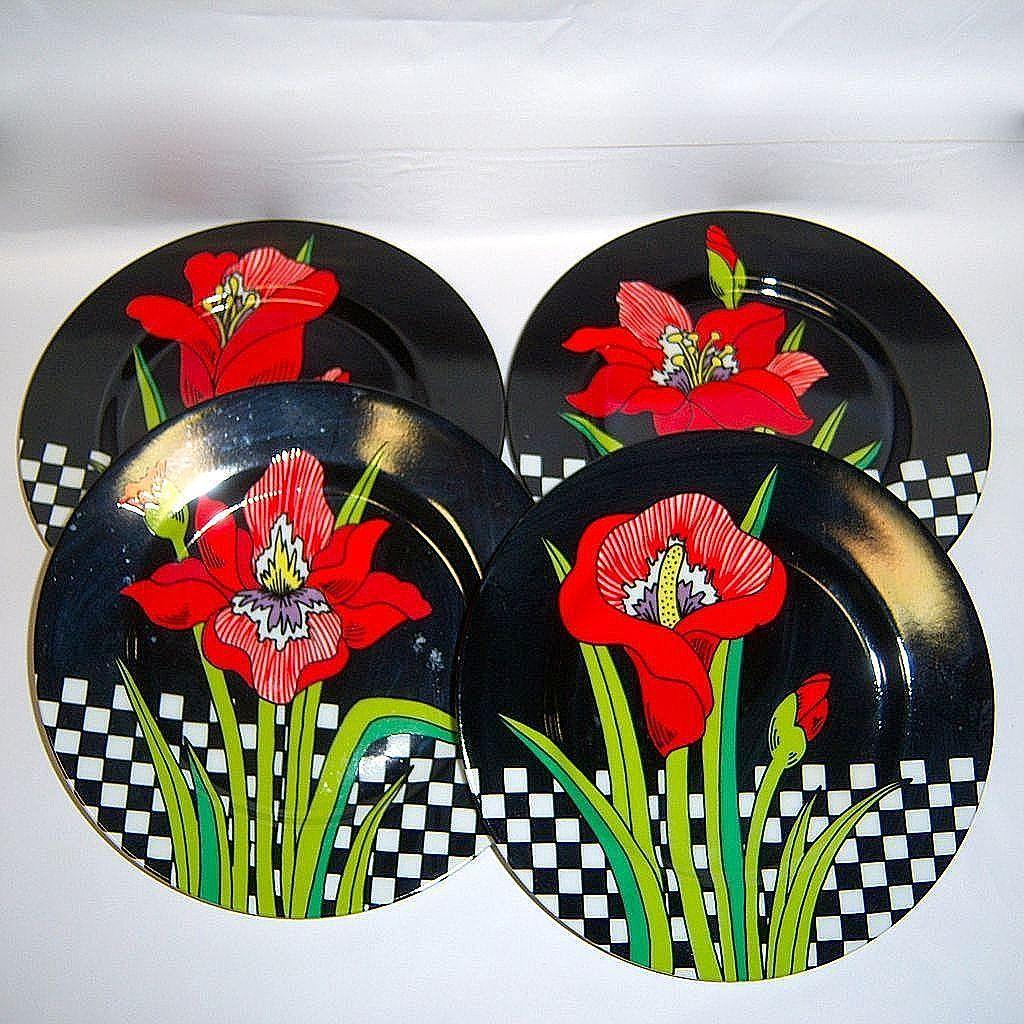 "Set (4) Fitz & Floyd ""Jardin Rouge"" Plates"