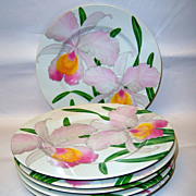 """Set (6) Fitz & Floyd """"Orchid Deaux"""" 7 1/2"""" Plates"""