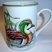 "Fitz & Floyd ""Canard Sauvage"" Green Winged Teal Mug"