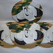 """Set (4) Fitz & Floyd """"Golden Tancho Stork"""" 7 1/2 Plates"""
