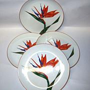 """Fitz & Floyd Set (4) """"Bird of Paradise"""" Salad plates"""