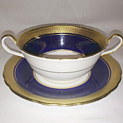 Aynsley Cobalt and Gold Buckingham Cream Soup & Saucer