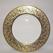 Royal Worcester Gold Feather-Cobalt Dinner Plate