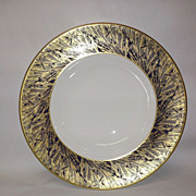 Royal Worcester Gold Feather-Cobalt Large Rim Soup