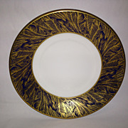Royal Worcester Gold Feather-Cobalt Salad Plate