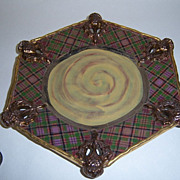Rare MacKenzie-Childs Evervolving Plaid Thistle Bread Plate