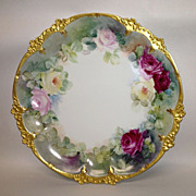 G.D.A. French Limoges Hand Painted Roses Charger or Cake Plate
