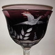 Dark Amethyst Moser Whisky-Birds of the Wild Goblet