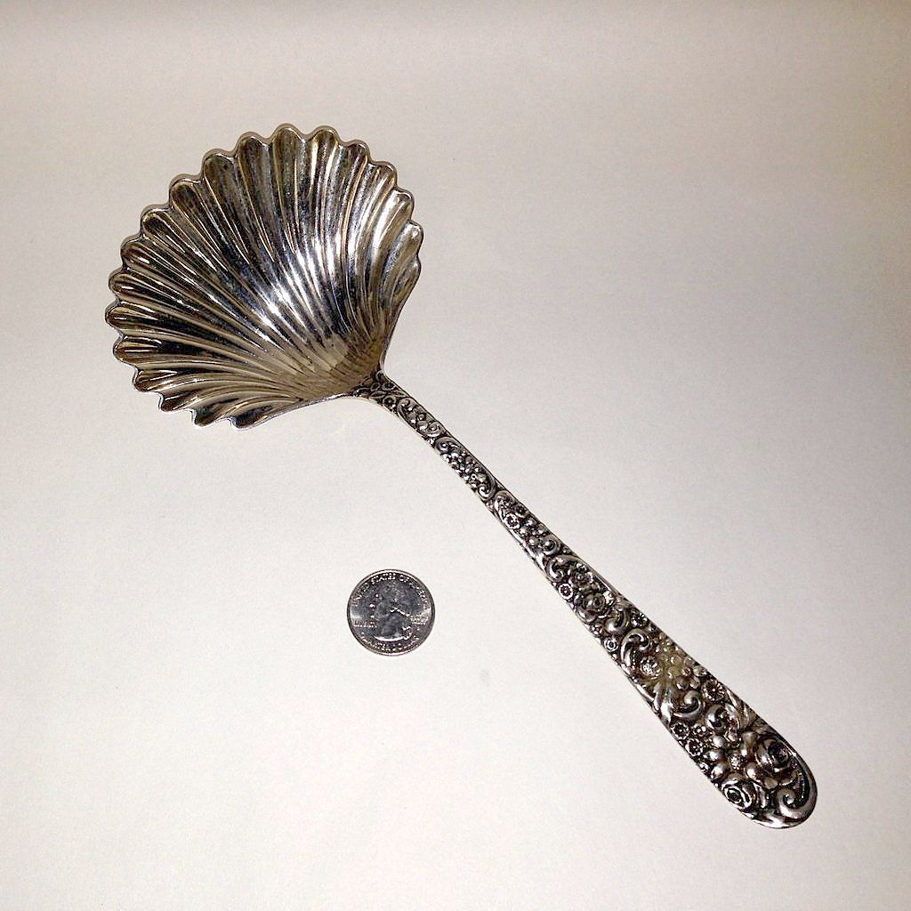 Massive Jacobi & Jenkins Sterling Repousse Shell Bowl Berry Spoon