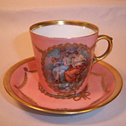 Unusual Royal Copenhagen Pink Demitasse with Mythological Figures