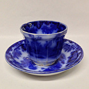 George Alcock SCINDE Flow Blue Tea Cup & Saucer