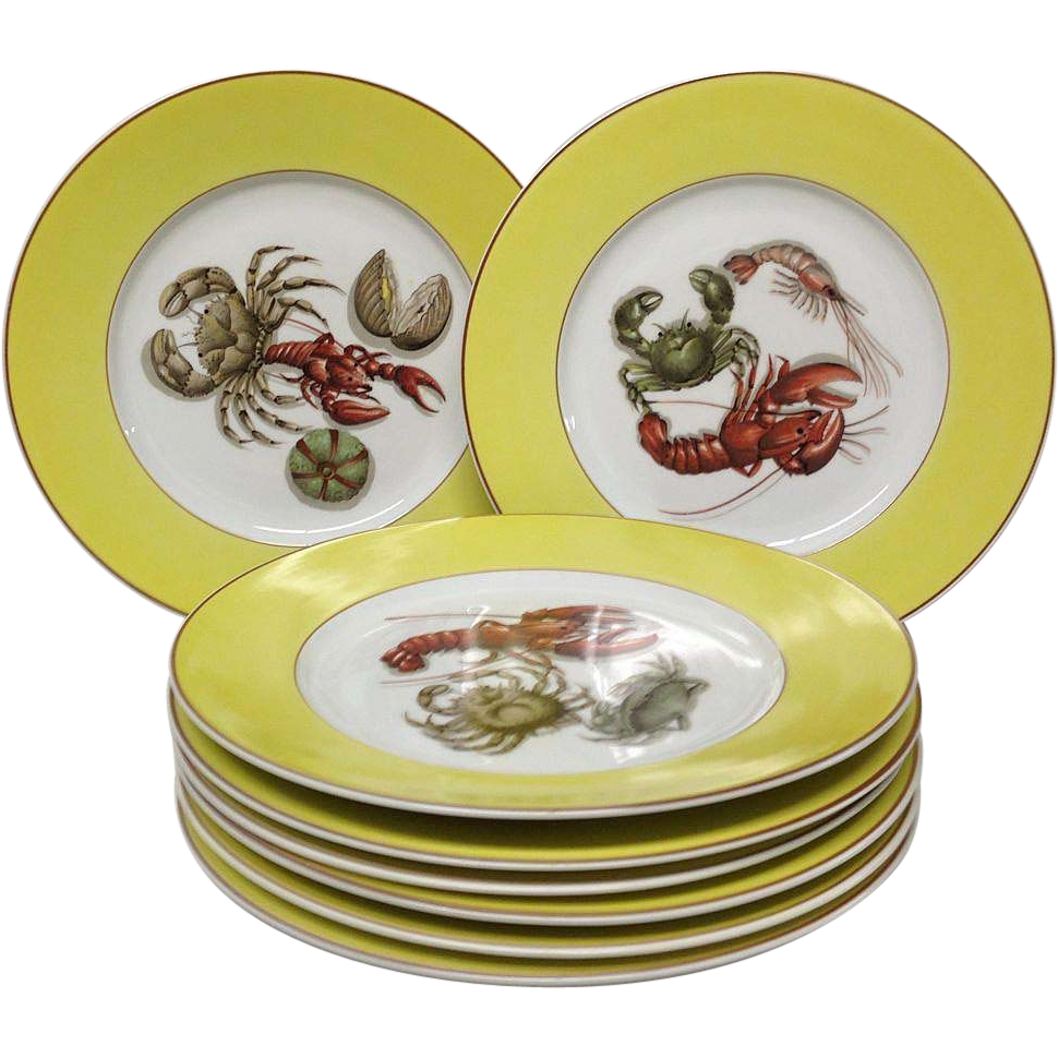 set 8 mottahedeh fruits of the sea dinner plates from