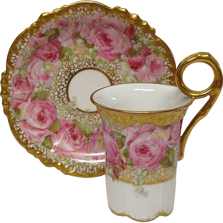 Superb Jean Pouyat Chocolate Cup & Saucer, Pink Roses, Gold