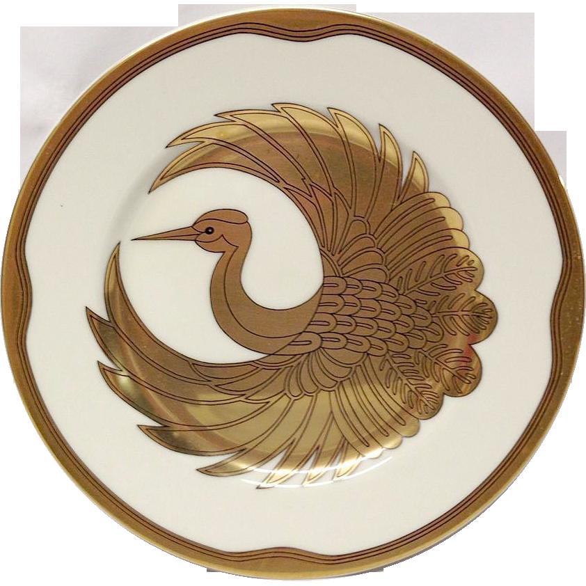 "Fitz & Floyd ""Golden Tsuru"" 7 1/2"" Plate"