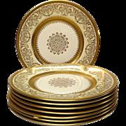 Set (8) Edgerton Pickard Gold Encrusted Dinner Plates