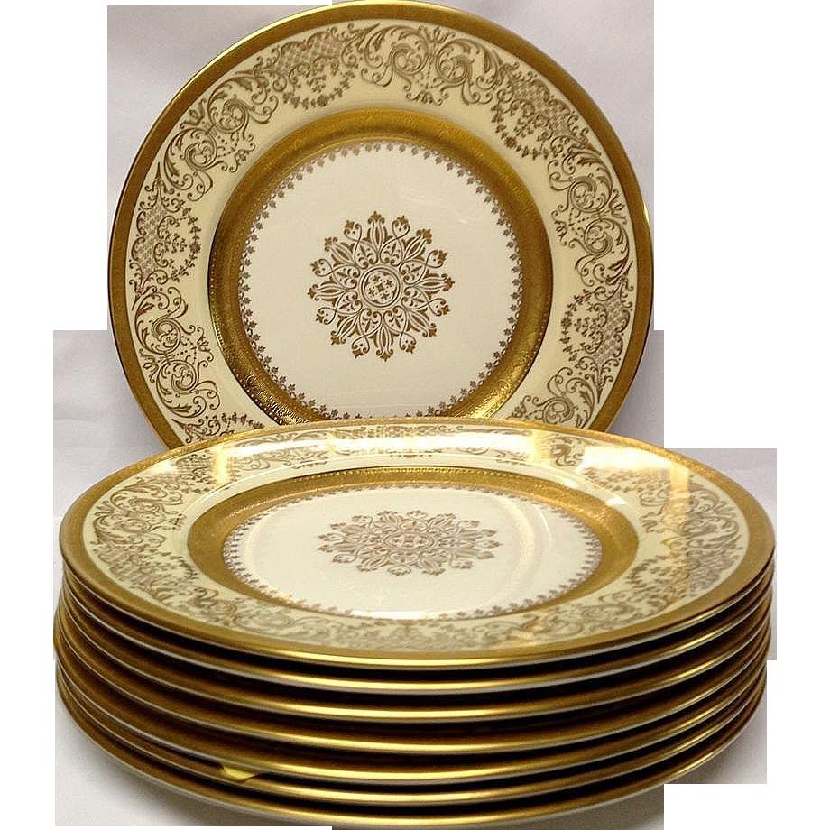 Set (8) Edgerton Pickard Gold Encrusted Dinner Plates  Grandview Fine Tableware | Ruby Lane  sc 1 st  Ruby Lane & Set (8) Edgerton Pickard Gold Encrusted Dinner Plates : Grandview ...