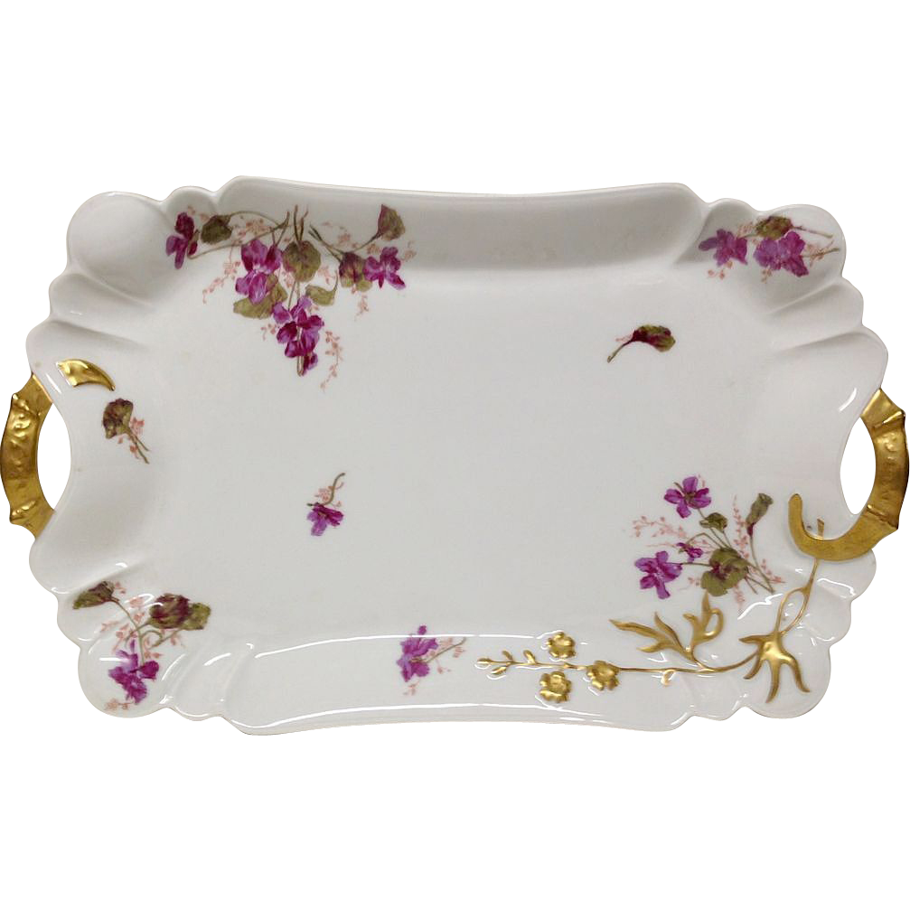 Antique Haviland Handled Tray Violets, Blank 10