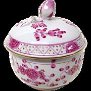Vintage Meissen Pink Floral Miniature Covered Sugar