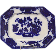 "Stunning Francis Morley ""Cashmer""  Flow Blue Platter"