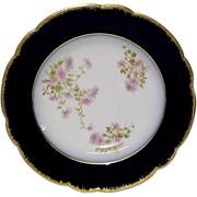 Lovely Wm. Guerin Limoges Cobalt, Gold, Floral Rim Soup