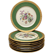 "Set (8) Green, Gold, Floral Pickard 10 3/4"" Service Plates"
