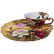 Lovely Lefton 2-Piece Hand Painted Snack Set Roses