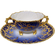 Superb Jean Pouyat Limoges Cobalt Gold Encrusted Bouillon Set