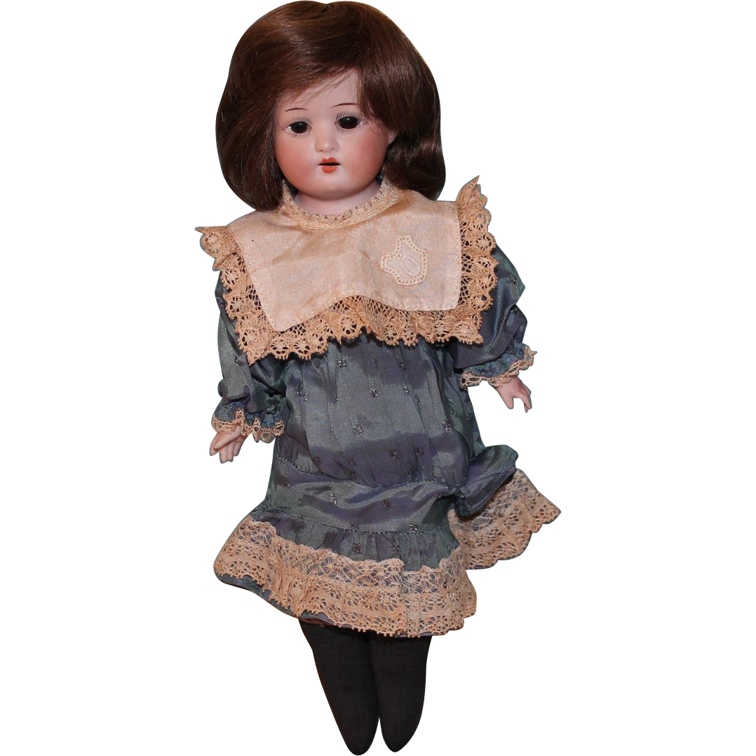 Ernest Heubach 275 Antique doll  – 11 INCH-pink/black cloth body