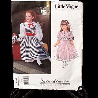Madame Alexander/Little Vogue Girl and Matching Doll Dress Pattern #1292