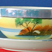 Trico, Japanese glazed china serving dish' cup and saucer/cream & sugar
