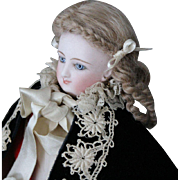"""Bru Smiler/French Fashion size """"A""""-linen costume with bustle and black velvet cape"""