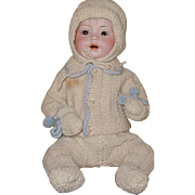 Antique German baby doll by Herzi-13 inch/brown sleep eyes, wonderful knit outfit/open mouth/exc. bisque