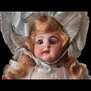 "Antique Simon Halbig; 9.5"" DOLL WITH AU NAIN BLEU garment/in original costume and box"