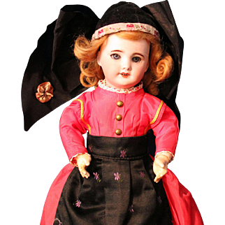 SFBJ 301 - 12 inch- antique French doll in folklore costume - very good to exc
