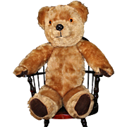 English brown mohair teddy bear - stands 17 inches tall. Very good condition for vintage bear.