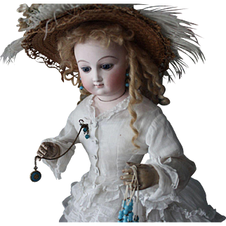 "Exquisite French Fashion - Bru- French doll/22 inches/fine white dress/hat/parasol/white button shoes/marked ""J"" for size"