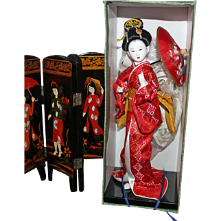 Japanese bisque headed lady with umbrella - NRFB - approximately 11 inches tall