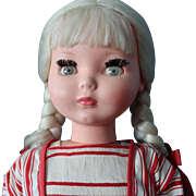 Furga doll -- 23 inches - all original clothing - blonde pigtails - excellent condition - 1960 era