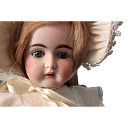 JDKestner 152 Antique doll-21 inches-perfect bisque-cement pate-HH wig-antique dress