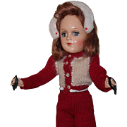 Mary Hoyer Composition doll in knitted red/white ski outfit. In excellent condition