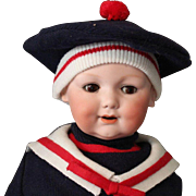 "Armand Marseille 326 baby doll/antique with back neck repair-14.5 "" head/Cute! in Sailor Oufit"