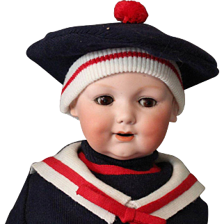 Armand Marseille 326 baby doll/antique with back neck repair-Cute! in Sailor Oufit